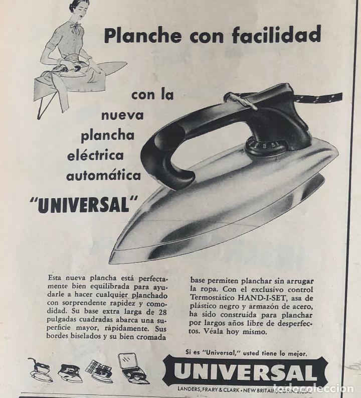 PUBLICIDAD DE PRENSA DE PLANCHAS UNIVERSAL. ORIGINAL AÑO 1954. 14 X 18 CM. BUEN ESTADO. (Antigüedades - Técnicas - Planchas Antiguas - Varios)