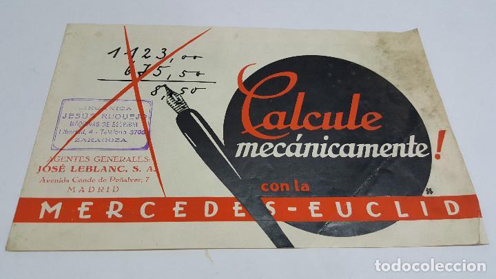 FOLLETO PUBLICIDAD MÁQUINA DE CÁLCULO MERCEDES EUCLID MODELO 16 (Antigüedades - Técnicas - Aparatos de Cálculo - Cajas Registradoras Antiguas)