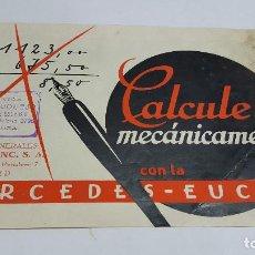 Antigüedades: FOLLETO PUBLICIDAD MÁQUINA DE CÁLCULO MERCEDES EUCLID MODELO 16. Lote 206899077