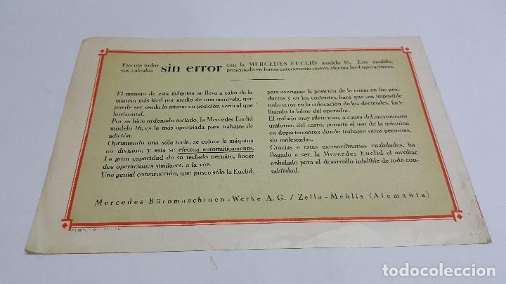 Antigüedades: Folleto publicidad Máquina de cálculo Mercedes Euclid Modelo 16 - Foto 2 - 206899077