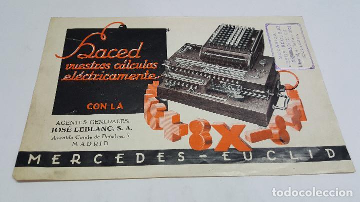 FOLLETO PUBLICIDAD MÁQUINA DE CÁLCULO MERCEDES EUCLID MODELO 8 (Antigüedades - Técnicas - Aparatos de Cálculo - Cajas Registradoras Antiguas)