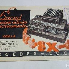 Antigüedades: FOLLETO PUBLICIDAD MÁQUINA DE CÁLCULO MERCEDES EUCLID MODELO 8. Lote 206899182