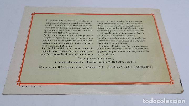 Antigüedades: Folleto publicidad Máquina de cálculo Mercedes Euclid Modelo 8 - Foto 2 - 206899182