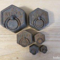 Antigüedades: LOTE DE 6 PESAS EXAGONALES FRANCIA. Lote 207421092