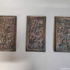 Antigüedades: 3 PLACAS CON ESCENAS ANTIGUAS.. Lote 207436041
