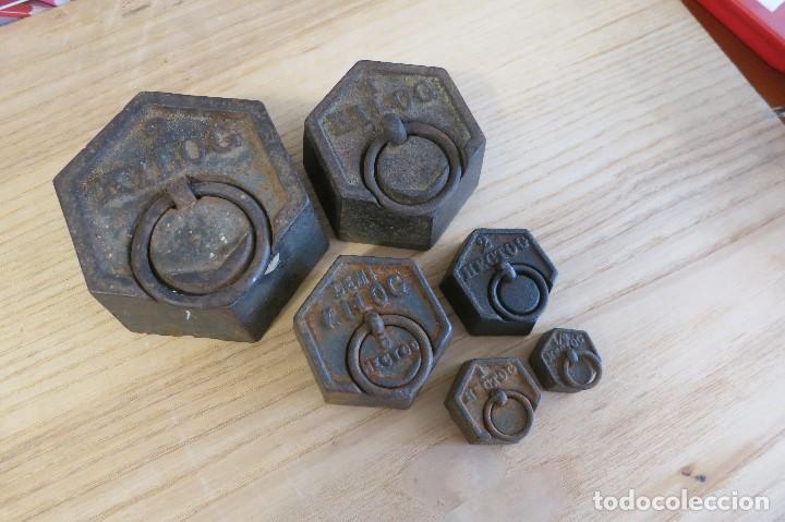 PESAS EXAGONALES DE HIERRO PARA BALANZA (Antigüedades - Técnicas - Medidas de Peso - Ponderales Antiguos)