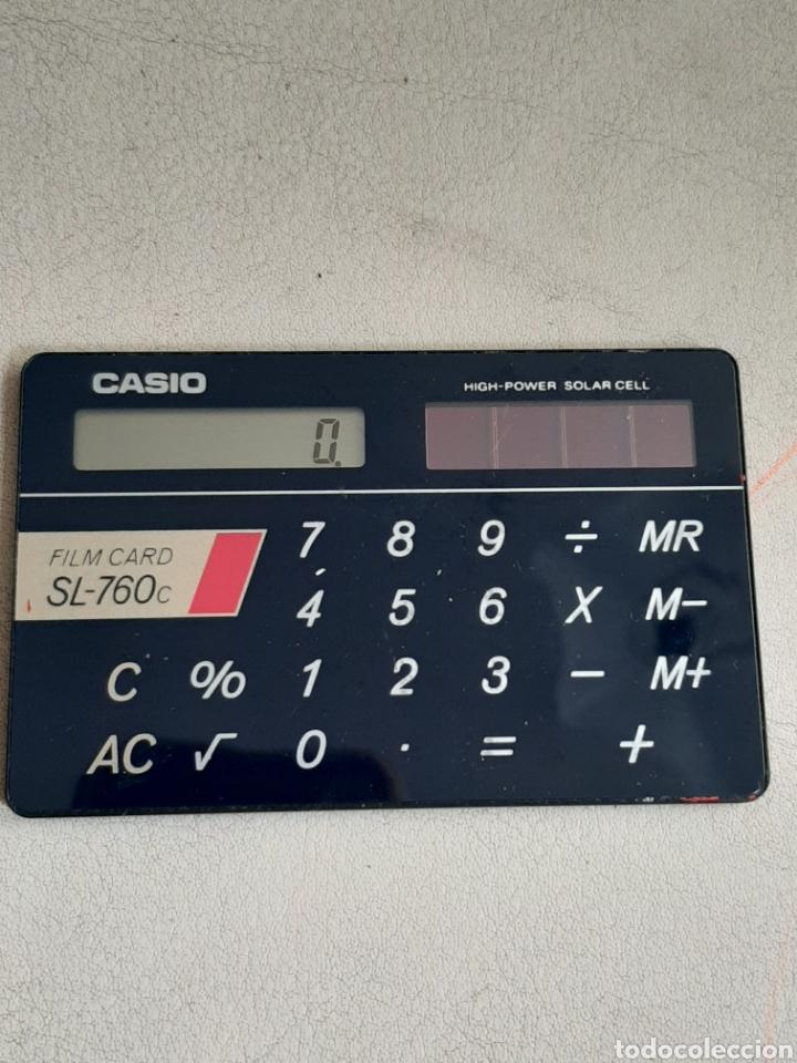 Antigüedades: Calculadora Casio Film Card SL-760c funcionando escasa en funda original - Foto 2 - 208375871
