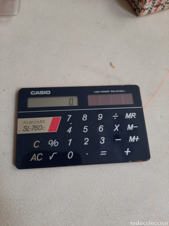CALCULADORA CASIO FILM CARD SL-760C FUNCIONANDO ESCASA EN FUNDA ORIGINAL (Antigüedades - Técnicas - Aparatos de Cálculo - Calculadoras Antiguas)