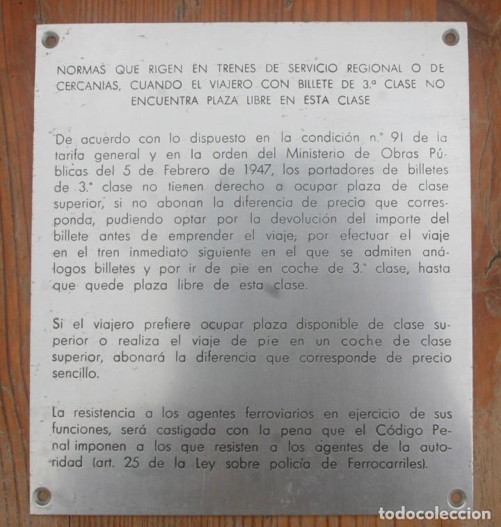 PLACA NORMAS VIAJEROS COCHES ANTIGUOS RENFE (Antigüedades - Técnicas - Varios)