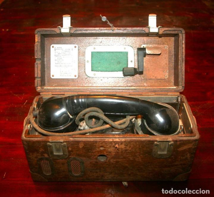 Antigüedades: Teléfono campaña cabina locomotora RENFE - Foto 3 - 208395107