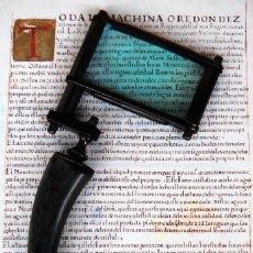 Antigüedades: GRAN LUPA CUADRADA CON MANGO DE ASTA TALLADO - CUERNO. Lote 208575933