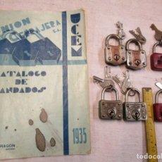 Antiquités: LOTE 6 CANDADOS UNION CERRAJERA DE LOS 30'S - SIN USO PREVIO, DOS LLAVES, FUNCIONANDO + INFO. Lote 208593680