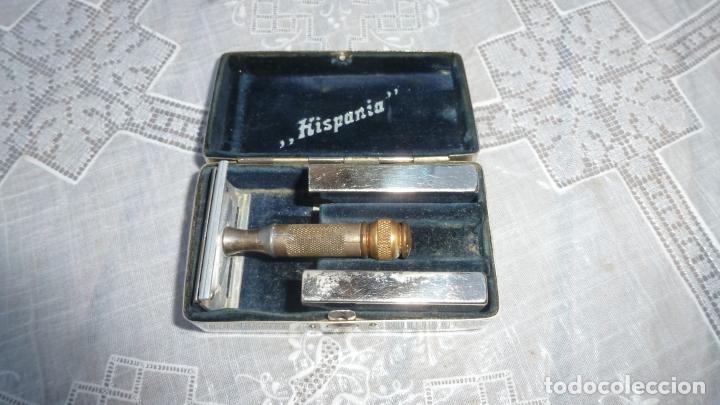 Antigüedades: ANTIGUA MAQUINILLA GUILLETTE-HISPANIA - ESTUCHE ACERO INOXIDABLE Y PORTA CUCHILLAS. - Foto 3 - 208812396