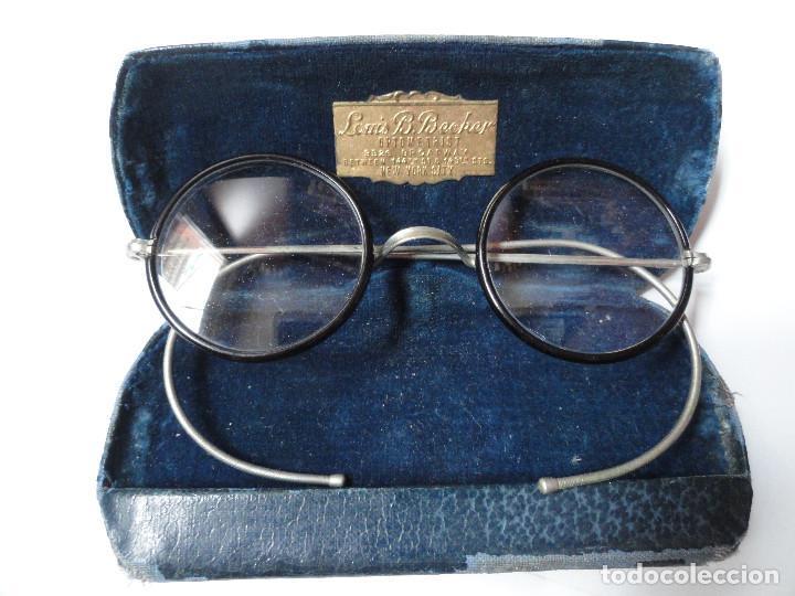 GAFAS ANTIGUAS CON ESTUCHE - L. BECKER OPTOMETRIST, BROADWAY, NEW YORK CITY, USA (Antigüedades - Técnicas - Instrumentos Ópticos - Gafas Antiguas)