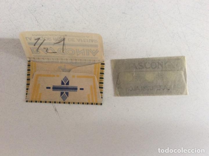 Antigüedades: Antigua hoja de afeitar basconia hoja de lujo, completa en su papel de celofán - Foto 2 - 209266353