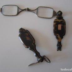 Antigüedades: GAFAS ANTEOJOS IMPERTINENTES DE CAREY DEL SIGLO XIX ROTAS CON CRISTALES PARA REPARACIONES. Lote 209727388
