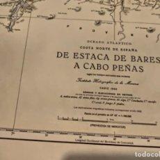 Antigüedades: CARTA MAPA NAVEGACIÓN AÑOS 50 ESTACA DE BARES A CABO PEÑAS. Lote 209806490