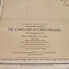 Antigüedades: CARTA MAPA NAVEGACIÓN AÑOS 50 DE CABO AJO A CABO HIGUER. Lote 209806691
