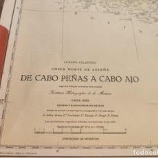 Antigüedades: CARTA MAPA NAVEGACIÓN AÑOS 50 CABO PEÑAS A CABO AJO. Lote 209806823