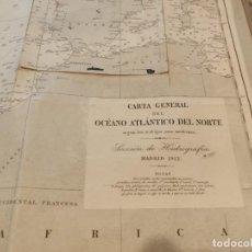 Antigüedades: CARTA MAPA GENERAL OCÉANO ATLÁNTICO DEL NORTE 1912. Lote 209806868