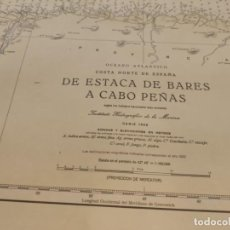Antigüedades: CARTA MAPA NAVEGACIÓN AÑOS 50 ESTACA DE BARES A CABO PEÑAS. Lote 209807256