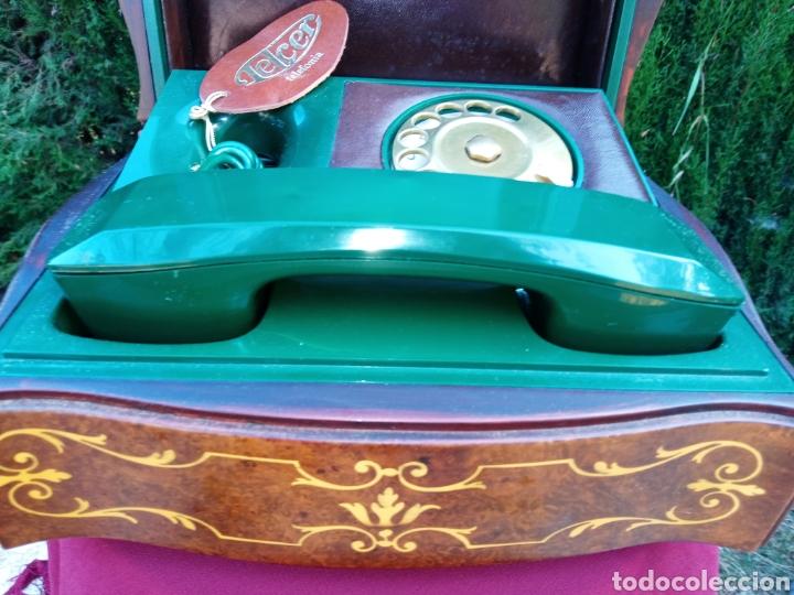 Teléfonos: TELEFONO TELCER - ALTA CALIDAD - EN CAJA DE MADERA DE RAIZ - BAQUELITA Y CUERO - VINTAGE - AÑOS 1950 - Foto 5 - 209811141