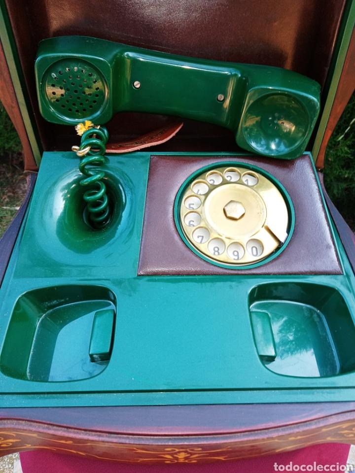 Teléfonos: TELEFONO TELCER - ALTA CALIDAD - EN CAJA DE MADERA DE RAIZ - BAQUELITA Y CUERO - VINTAGE - AÑOS 1950 - Foto 9 - 209811141
