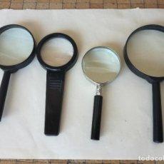 Antigüedades: LOTE DE 4 LUPAS VINTAGE DE PLATICO Y METAL. DIÁMETRO CRISTALES ENTRE: 7,2 CM - 4,4 CM. Lote 209853122