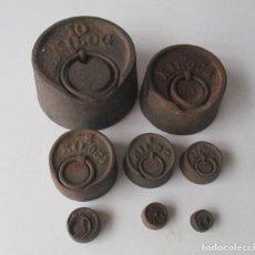 Antigüedades: JUEGO DE PESAS DE 10 KILOS A 50 GRAMOS. Lote 210078110