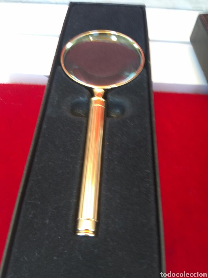 LUPA DE MANO EL CASCO BAÑO DE ORO 23 QUILATES (Antigüedades - Técnicas - Instrumentos Ópticos - Lupas Antiguas)