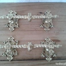 Antigüedades: 2 TIRADORES BRONCE RECTOS GRAN TAMAÑO DECORACIÓN EN RELIEVE. Lote 210477296