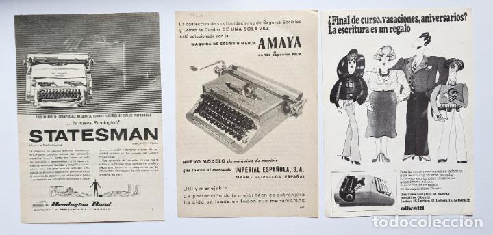 3 ANUNCIOS DE MAQUINAS DE ESCRIBIR. OLIVETTI, AMAYA Y STATESMAN. 1976 Y 1960. . VELL I BELL (Antigüedades - Técnicas - Máquinas de Escribir Antiguas - Otras)