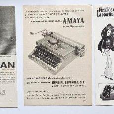 Antigüedades: 3 ANUNCIOS DE MAQUINAS DE ESCRIBIR. OLIVETTI, AMAYA Y STATESMAN. 1976 Y 1960. . VELL I BELL. Lote 210585672