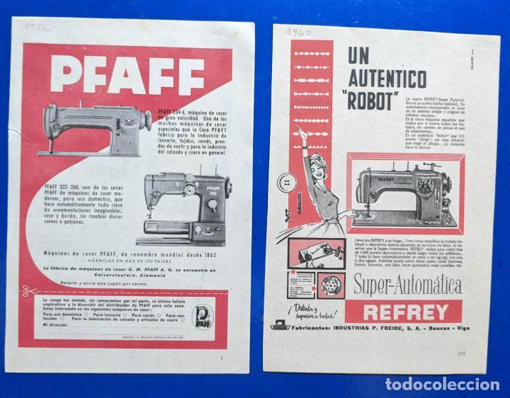 2 ANUNCIO DE MAQUINA DE COSER REFREY Y PFAFF. AÑOS 1956 Y 1960. 12,4 X18,50 CMS. . . VELL I BELL (Antigüedades - Técnicas - Máquinas de Coser Antiguas - Refrey)