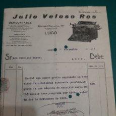 Antiquités: FACTURA 1826 LUGO JULIO VELOSO ROS MAQUINA ESCRIBIR MARCA MOLLE MODELO TRES. Lote 210674327