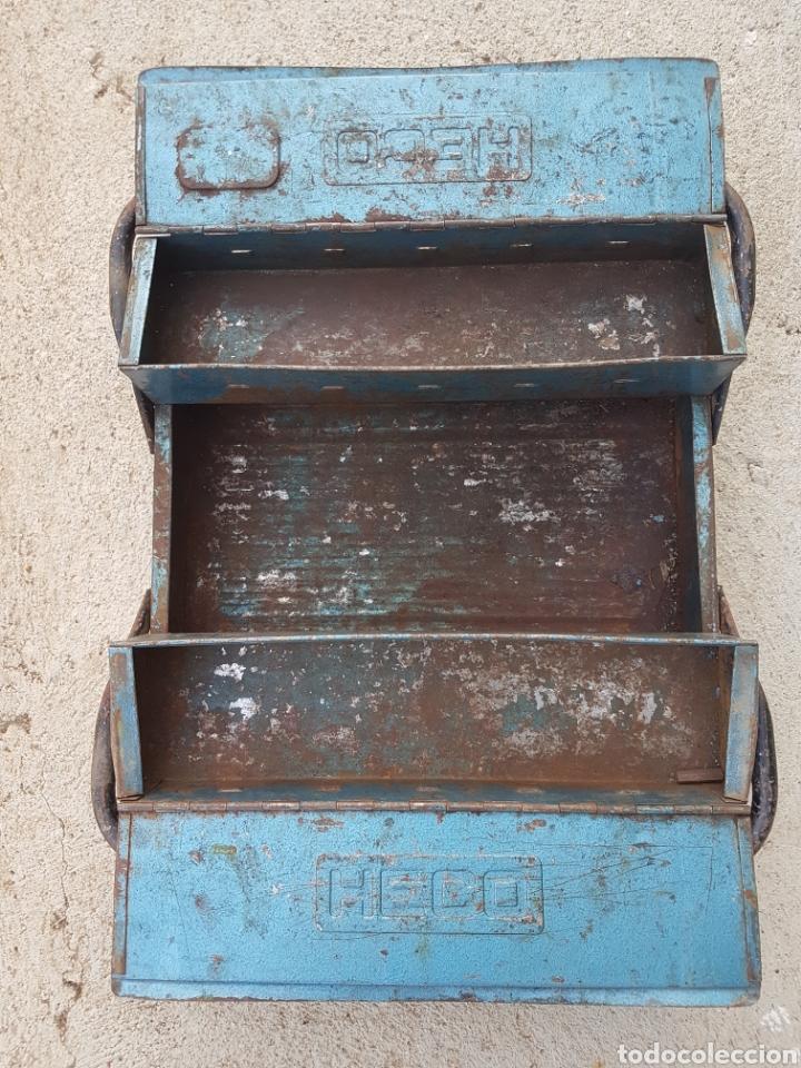 Antigüedades: Antigua caja herramientas metalica Heco - Foto 3 - 210690674