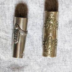 Antigüedades: 2 ANILLAS ANTIGUAS METAL DORADO PARA BASTONES, 5 Y 5,5 CM LARGO Y 1,5 Y 1,7 DE DIAMETRO. VELL I BELL. Lote 210790321