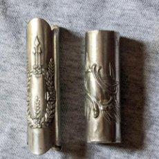 Antigüedades: 2 ANILLAS ANTIGUAS METAL PLATEADO PARA BASTONES, 1,5 CM DIAMETRO. VELL I BELL. Lote 210790590