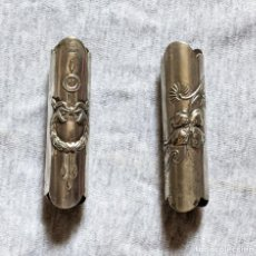 Antigüedades: 2 ANILLAS ANTIGUAS METAL PLATEADO PARA BASTONES, 1,6 CM DIAMETRO, 6,4 CM LARGO. VELL I BELL. Lote 210790716