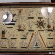 Antigüedades: CUADRO MARINERO VITRINA , NUDOS MARINEROS , VELERO, ANCLA, TIMON, REMO. Lote 210806806