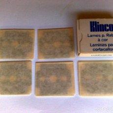 Antigüedades: LAMINAS PARA CORTACALLOS (5 UND) KLINCO-SOLINGEN EN SU ESTUCHE ORIGINAL,SIN USAR.. Lote 211259844