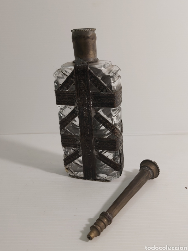 Antigüedades: ANTIGUA BOTELLA EN CRISTAL Y PLATA PARA BARBERO - Foto 3 - 211273397