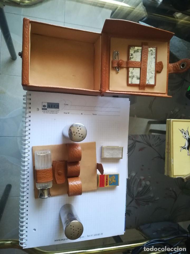 Antigüedades: JUEGO AFEITAR EN PIEL PARA VIAJE. - Foto 2 - 211389532