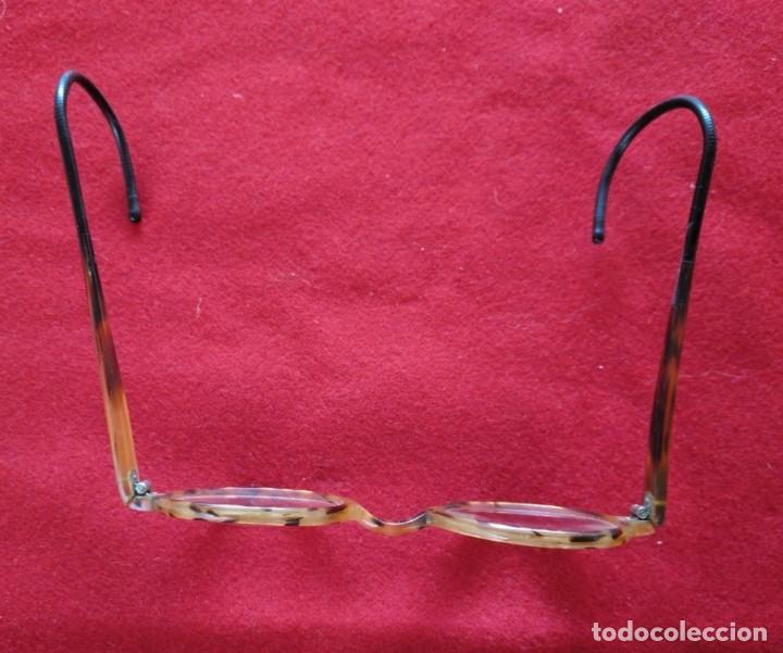 Antigüedades: GAFAS DE PASTA CON PATILLAS DE MUELLE. AÑOS 30. - Foto 2 - 211431294
