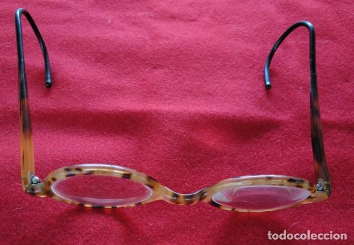 Antigüedades: GAFAS DE PASTA CON PATILLAS DE MUELLE. AÑOS 30. - Foto 3 - 211431294