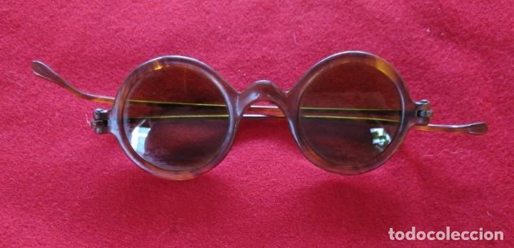 GAFAS DE SOL CON PATILLAS RECTAS, AÑOS 30. (Antigüedades - Técnicas - Instrumentos Ópticos - Gafas Antiguas)