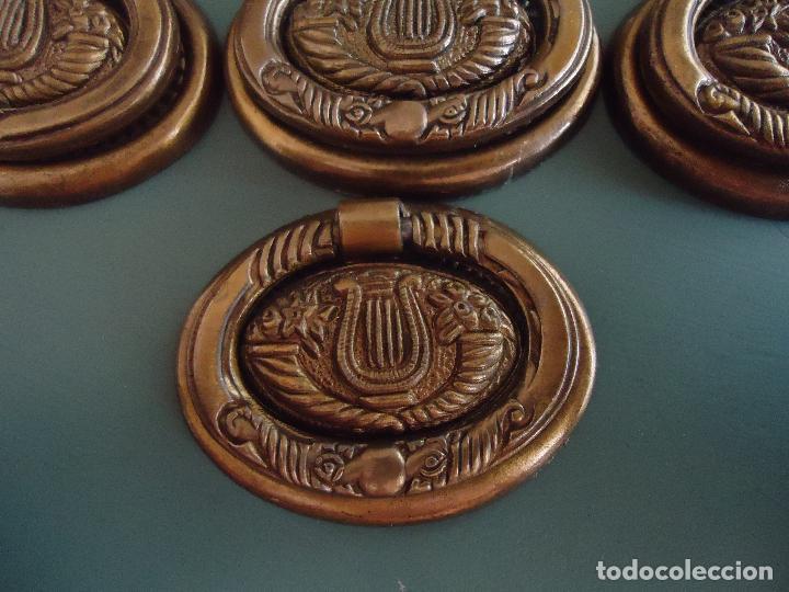 Antigüedades: 10 tiradores en metal dorado pavonado. Estilo Diecinueve. - Foto 2 - 211437695