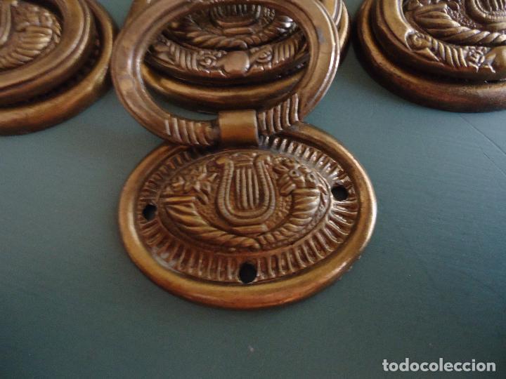 Antigüedades: 10 tiradores en metal dorado pavonado. Estilo Diecinueve. - Foto 3 - 211437695