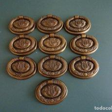 Antigüedades: 10 TIRADORES EN METAL DORADO PAVONADO. ESTILO DIECINUEVE.. Lote 211437695