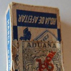 Antigüedades: HOJAS AFEITAR VACÍA TEIVES ESPECIAL FINA / FISCAL ADUANA PERFUMERÍA CIRCULACIÓN (SOBRECARGA NACIONAL. Lote 211454631